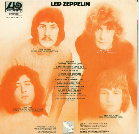Led Zeppelin Back Cover