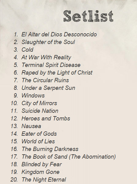 at the gates setlist