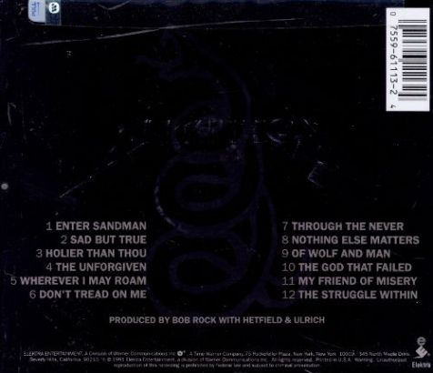 metallica black album back
